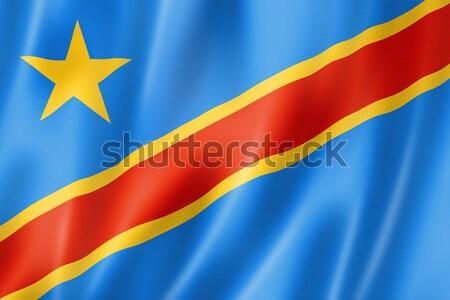 Demokratyczny republika Congo banderą trójwymiarowy oddać Zdjęcia stock © daboost