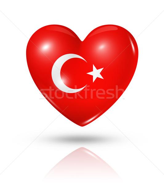 Stock photo: Love Turkey, heart flag icon