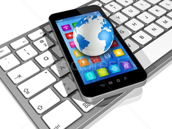 Stok fotoğraf: Bilgisayar · klavye · dünya · dünya · 3D · uygulamaları