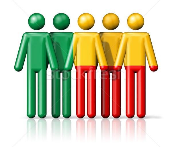 флаг Бенин stick figure социальной сообщество символ Сток-фото © daboost