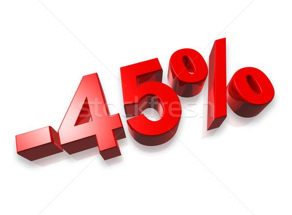 Czterdzieści pięć procent 3D numer odizolowany Zdjęcia stock © daboost