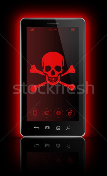 Smartphone pirata simbolo schermo l'hacking 3D Foto d'archivio © daboost