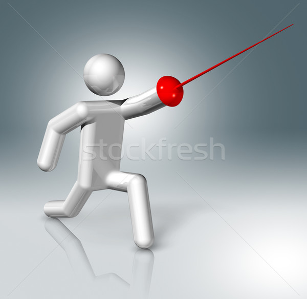 Fencing 3D symbol, Olympic sports Stock photo © daboost