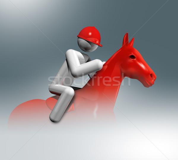 Lovas ugrik 3D szimbólum sportok háromdimenziós Stock fotó © daboost