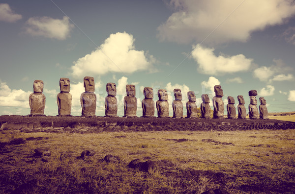 Moais statues, ahu Tongariki, easter island Stock photo © daboost