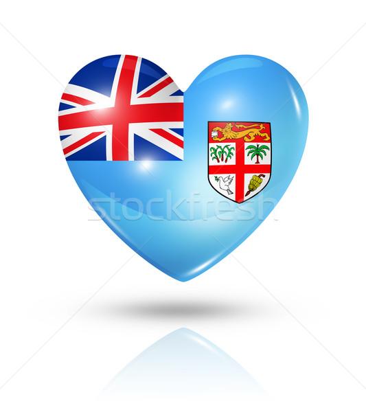 Liefde Fiji hart vlag icon symbool Stockfoto © daboost