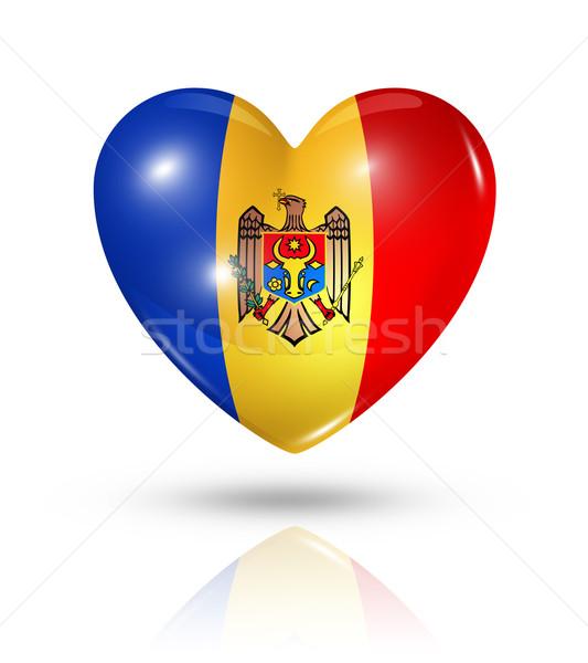 Szeretet Moldova szív zászló ikon szimbólum Stock fotó © daboost