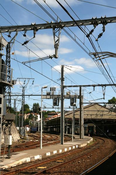 Vasútállomás távvezeték kábel erő elektromos kék ég Stock fotó © daboost