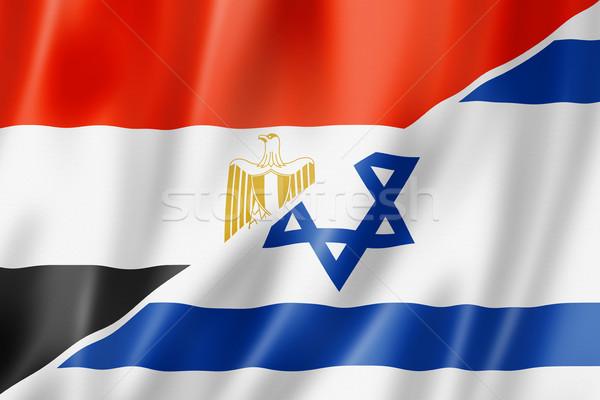 Mısır İsrail bayrak karışık üç boyutlu vermek Stok fotoğraf © daboost