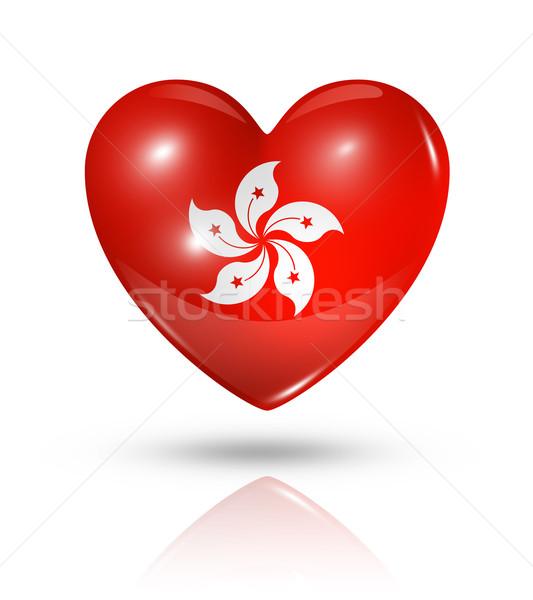 Stock photo: Love Hong Kong, heart flag icon