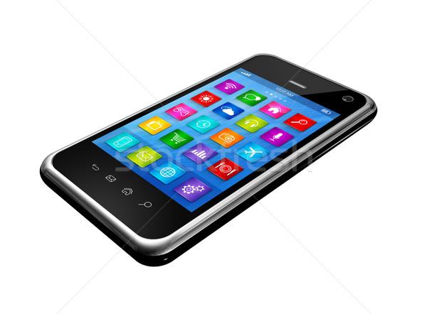 Okostelefon érintőképernyő hd appok ikonok interfész Stock fotó © daboost