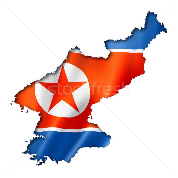 North Korean flag map Stock photo © daboost