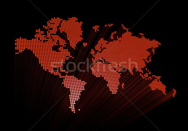 Stockfoto: Rood · wereldkaart · geïsoleerd · zwarte · wereldbol