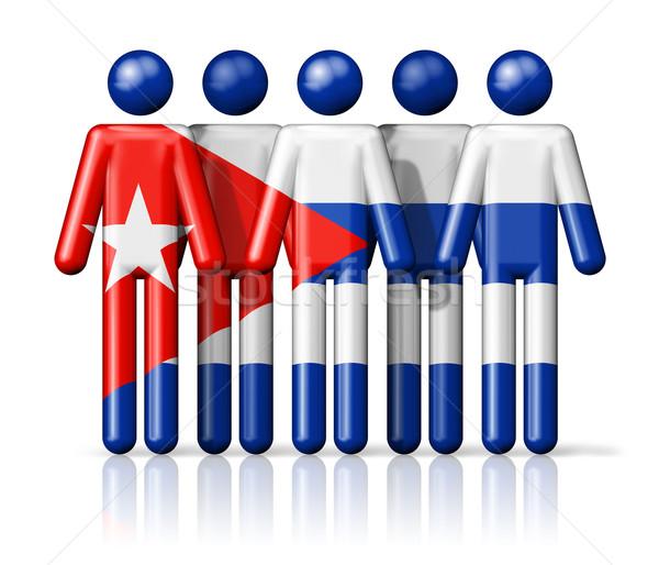 флаг Куба stick figure социальной сообщество символ Сток-фото © daboost