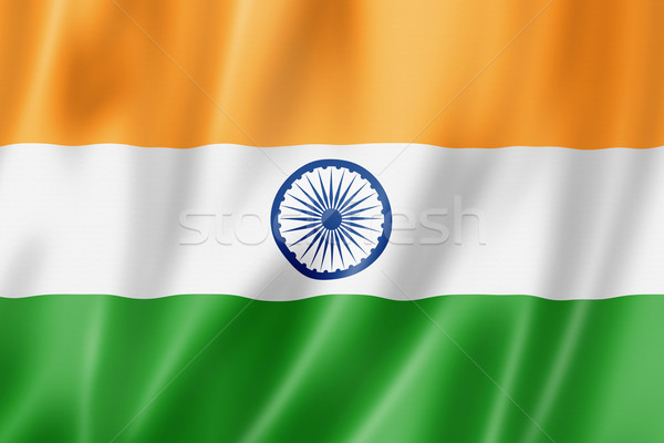 Stockfoto: Indian · vlag · Indië · geven · satijn
