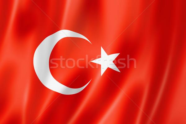 Turco bandeira Turquia tridimensional tornar cetim Foto stock © daboost