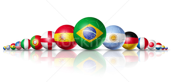 Brazil 2014, soccer football balls group with teams flags Stock photo © daboost