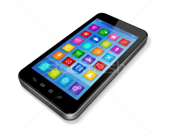смартфон hd приложения иконки интерфейс Сток-фото © daboost