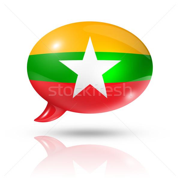 Birma Myanmar vlag tekstballon geïsoleerd Stockfoto © daboost