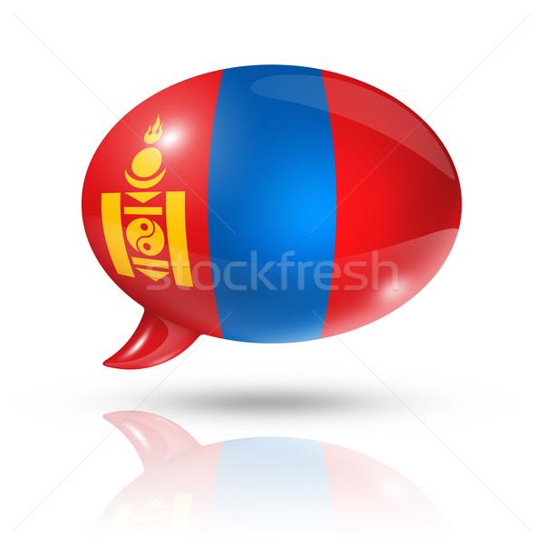 Mongólia zászló szövegbuborék háromdimenziós izolált fehér Stock fotó © daboost