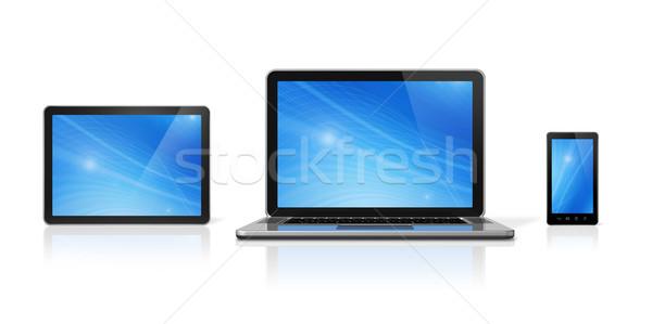 Stock fotó: Laptop · mobiltelefon · digitális · táblagép · 3D · izolált