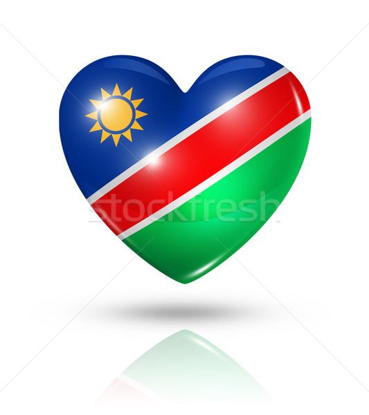 Sevmek Namibya kalp bayrak ikon simge Stok fotoğraf © daboost