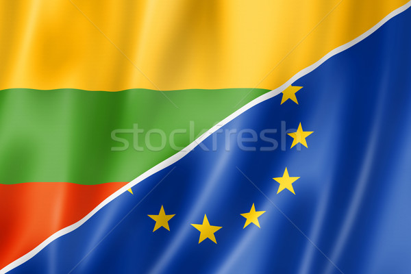 Lithuania and Europe flag Stock photo © daboost