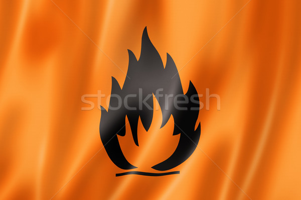 Inflamable icono bandera tridimensional hacer raso Foto stock © daboost