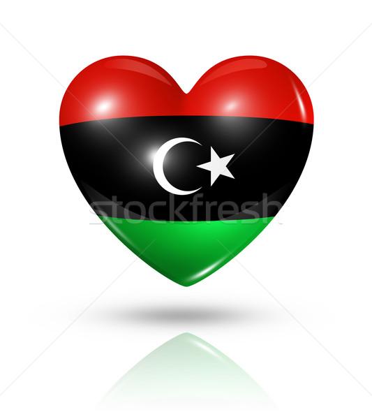 Miłości Libia serca banderą ikona symbol Zdjęcia stock © daboost