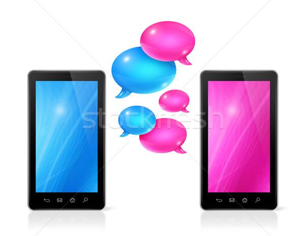 Мобильные телефоны 3D розовый синий связи Сток-фото © daboost
