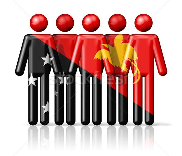 Flag of Papua New Guinea on stick figure Stock photo © daboost