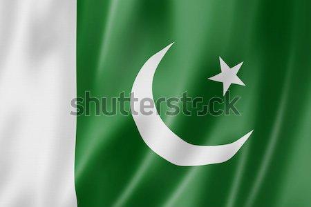 Pakisztáni zászló Pakisztán háromdimenziós render szatén Stock fotó © daboost
