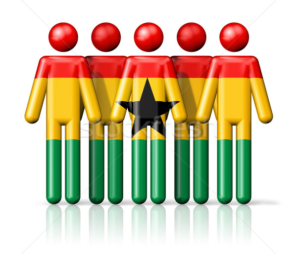 Flag of Ghana on stick figure Stock photo © daboost