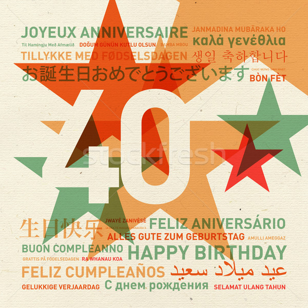 40th anniversary happy birthday card from the world Stock photo © daboost