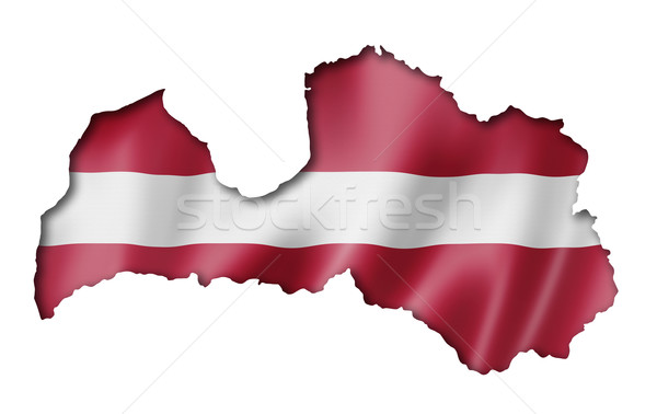 Latvian flag map Stock photo © daboost