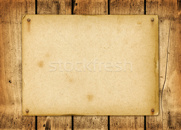 Blank vintage poster nailed on a wood board Stock photo © daboost
