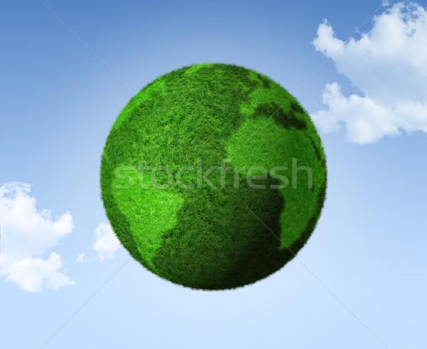 3D green grass globe on a blue sky Stock photo © daboost