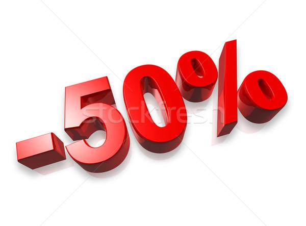 50 пятьдесят процент 3D числа изолированный Сток-фото © daboost