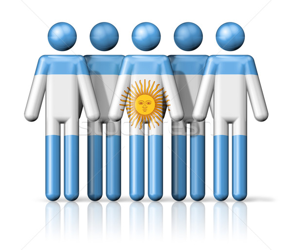 Flag of Argentina on stick figure Stock photo © daboost