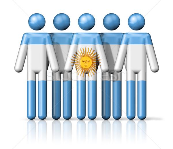 Zászló Argentína pálcikaember társasági közösség szimbólum Stock fotó © daboost