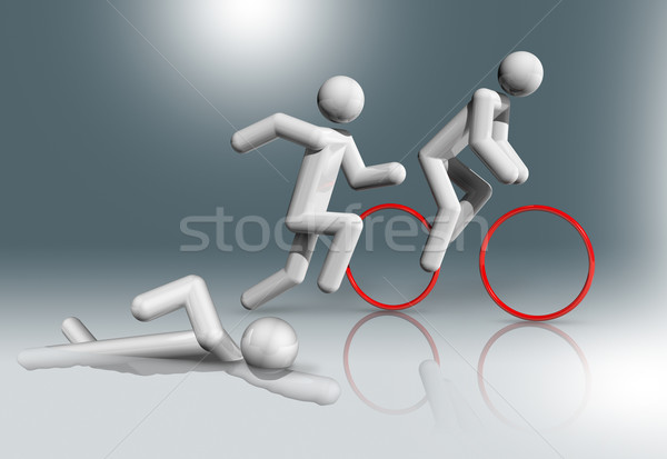 Triathlon 3D symbol, Olympic sports Stock photo © daboost