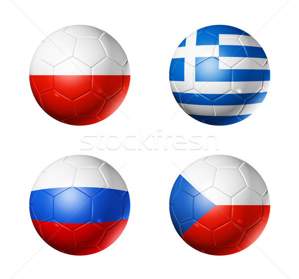 soccer UEFA euro 2012 cup - group A flags on soccer balls Stock photo © daboost