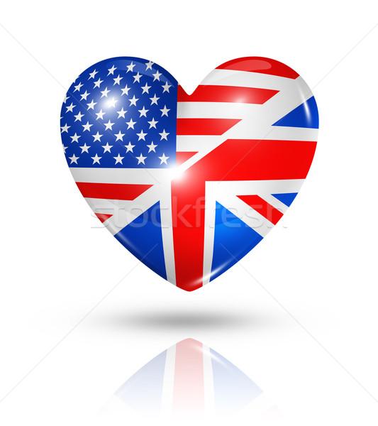Amor EUA corazón bandera icono símbolo Foto stock © daboost