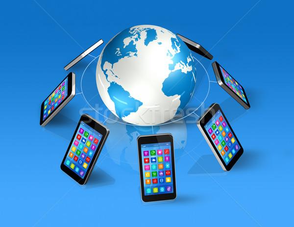 Okostelefonok körül világ földgömb globális kommunikáció 3D Stock fotó © daboost
