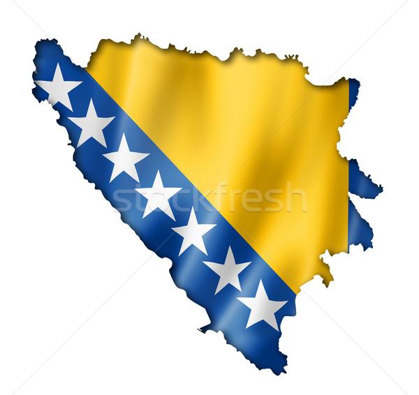 Bandera mapa Bosnia Herzegovina tridimensional hacer aislado Foto stock © daboost