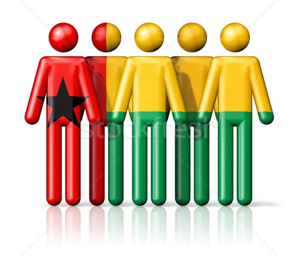 Zászló Guinea pálcikaember társasági közösség szimbólum Stock fotó © daboost