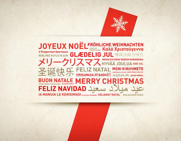 Foto stock: Alegre · natal · retro · cartão · mundo · diferente