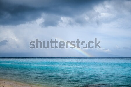 Rainbow on Temae Beach lagoon in Moorea island Stock photo © daboost