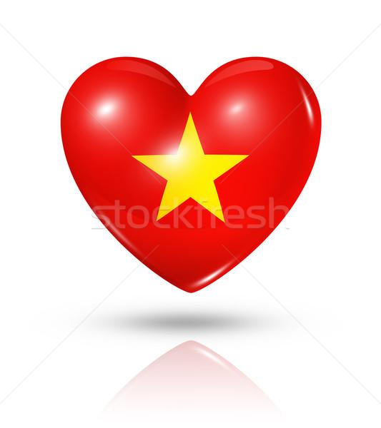Amour Viêt-Nam coeur pavillon icône symbole Photo stock © daboost