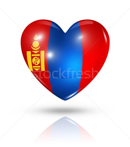 Szeretet Mongólia szív zászló ikon szimbólum Stock fotó © daboost